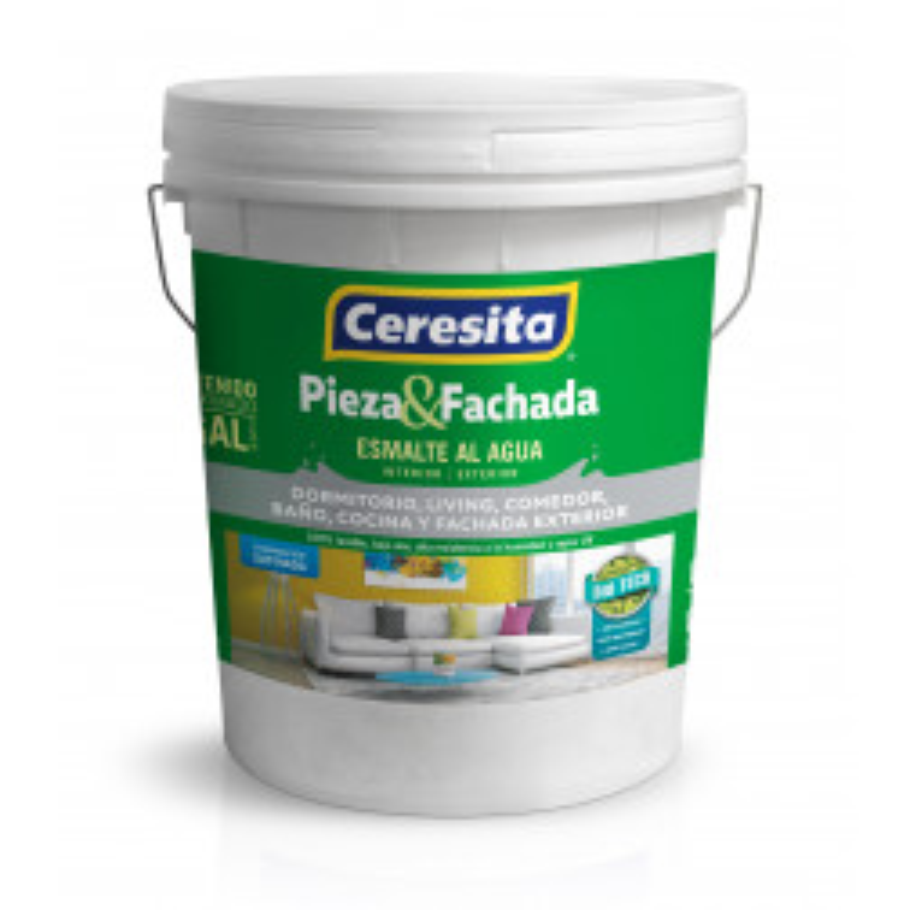 Pintura Esmalte Al Agua Ceresita Pieza Y Fachada Semibrillo Blanco Tineta